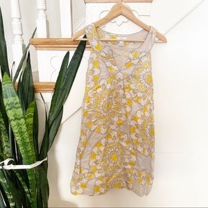 Loft Yellow Gray Floral Sleeveless mini Dress sz 0